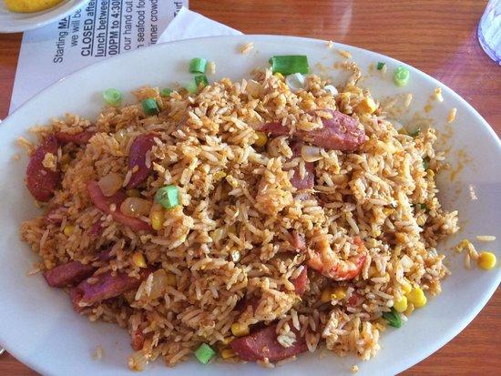 CR Surf and Turf: Cajun Fried Rice - sausage, crawfish, corn & onions