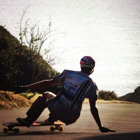 Estancia La Jolla Hotel & Spa : Son skateboarding on Blacks Beach trail