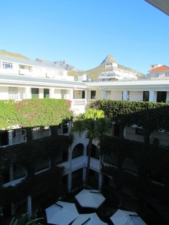 Winchester Mansions: View over the courtyard showing Table Mountain and Lion's Head