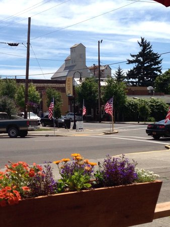 Carlton Bakery: This photo was taken from the outdoor eating area.  Perfect 4th of July day.