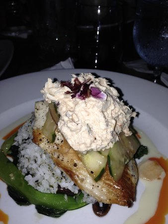 Blue Dragon Coastal Cuisine & Musiquarium: ono encrusted with nuts with crab salad on top, artwork