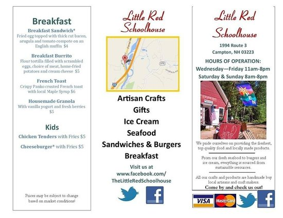 The Little Red Schoolhouse : Menu