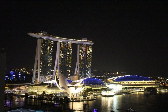 Marina Mandarin Singapore: Another night view from our balconny