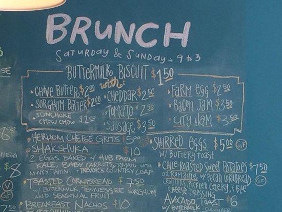 Scratch: Brunch menu.