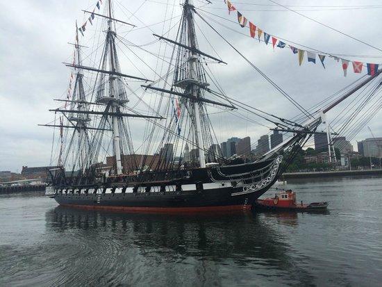 Boston Harbor Cruises : Old Ironsides, USS Constitution proudly traveling the Boston Harborfront! July 4 2014
