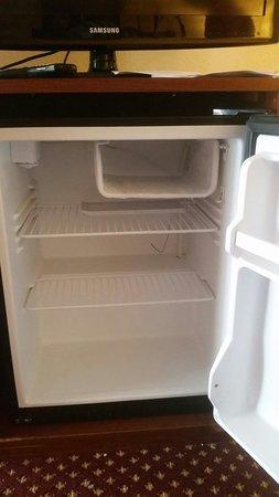 Quality Inn & Suites River Suites : Fridge. Broken freezer door.