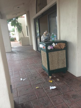Super 8 Page/Lake Powell : Trash outside the entrance. Trash was also overflowing in the interior receptacle as well.