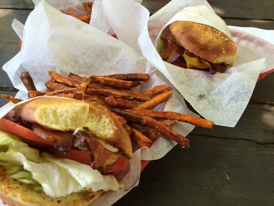The Bishop Burger Barn: Ryan Goods burger, Western BBQ burger, and sweetpotato fries