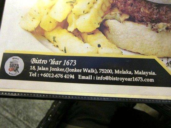Bistro Year 1673: Big menu.