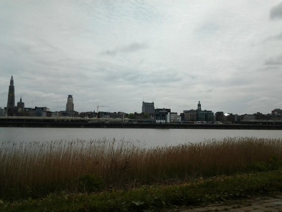 Sint Annatunnel: Aqui a vista do rio e  da cidade, depois de atravessar o tunel!