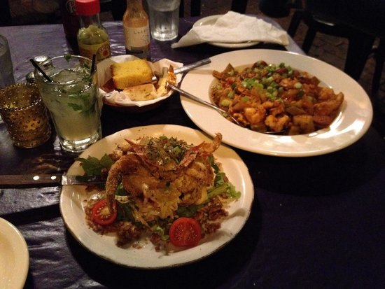 Hattie's : Soft shell crab and jambalaya.  Delicious!