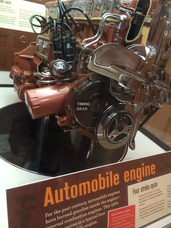"""Museum of Science : The """"modern"""" engine from a 1964 Plymouth, complete with distributor cap!"""