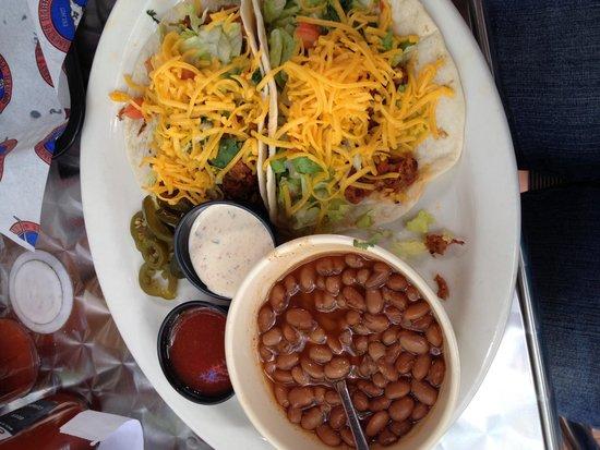 Riscky's BBQ: Chopped brisket tacos! Yummo!