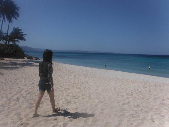 Saud Beach : white sand beach. bangui mills from afar