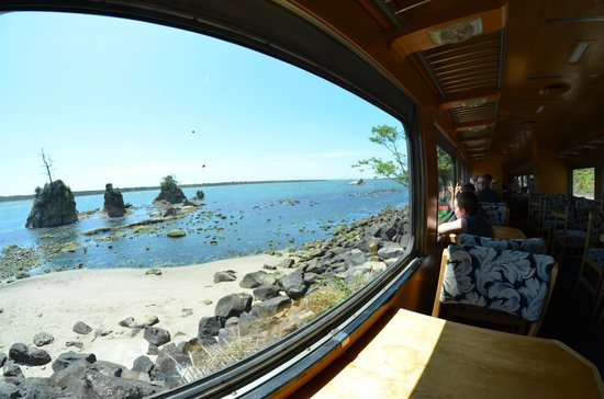 Oregon Coast Scenic Railroad: Ocean view from the railroad car