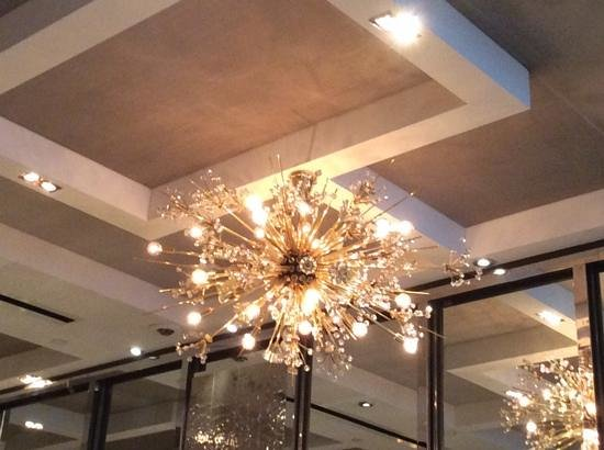 the chandelier over the breakfast buffet at The London NYC