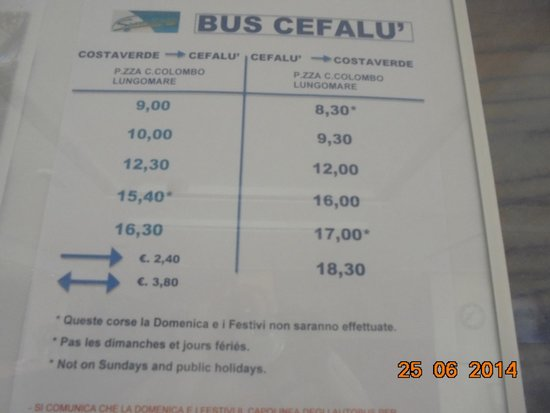 Hotel Club Costa Verde : Time table Costa Verde - Cefalu