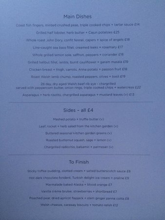 Coast Saundersfoot: Stunning menu. Could have chosen everything!