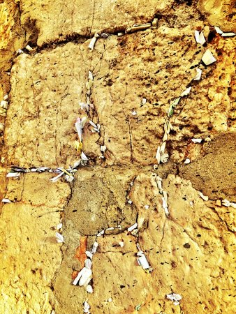 Mur des lamentations : Prayers are written on pieces of paper and stuffed into the cracks of the Western Wall