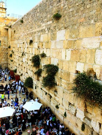 Klagemauer (Westmauer): Western Wall from above (on walking structure on the way to Temple Mount)