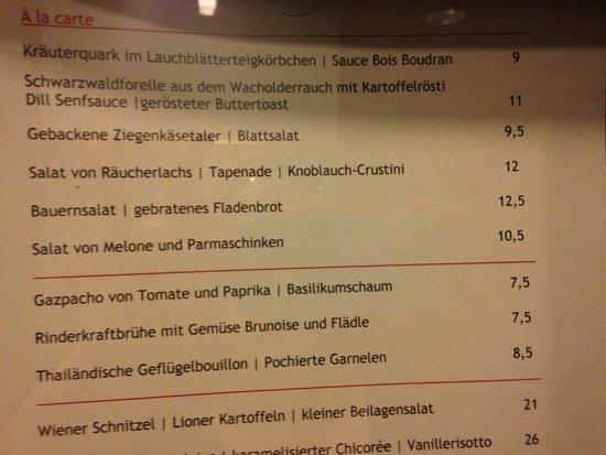 Leonardo Royal Hotel Baden-Baden: меню