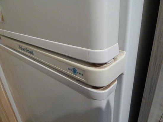 Seven Mile Beach Holiday Park: Grubby fridge door.