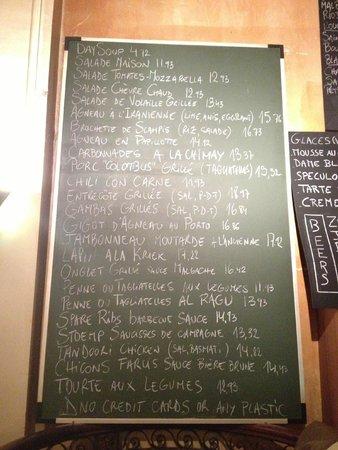 Fin de Siecle: menu on board