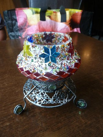The Olive Branch: Turkish stained glass mosaic candle holder