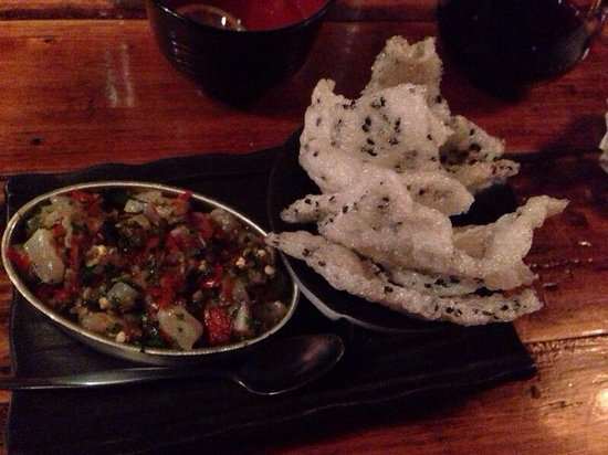 Rice Paper Scissors: King fish with rice cracker