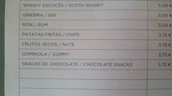 NH Sevilla Viapol : Lista de precios del minibar