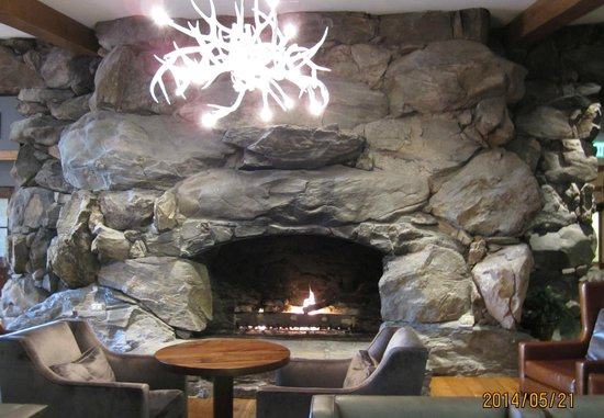 The Omni Grove Park Inn: one of the fireplaces in one of the public areas