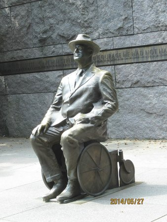 Franklin Delano Roosevelt Memorial: FDR at the time of his first term (in wheelchair)