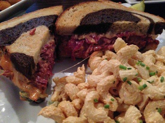 The Republic: Reuben Sandwich on Marble Rye w/ Mac. Salad