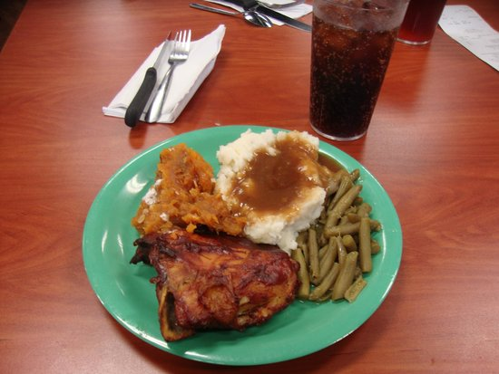 Golden Corral: Yummy... bq chicken, green beans, mashed potatoes and gravy and sweet potatoes to start my feast