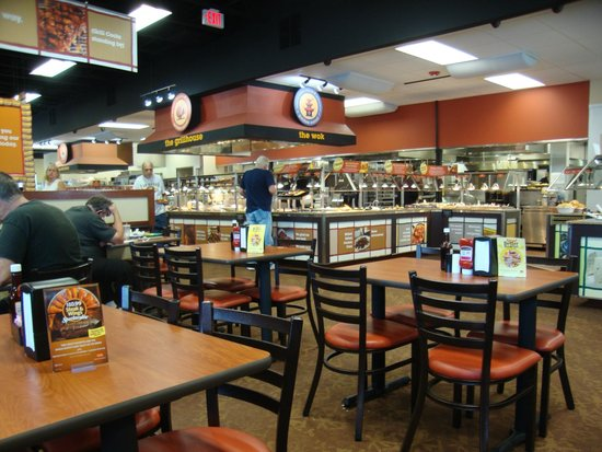 Golden Corral: Just before 2 p.m.