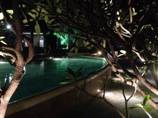La Palmeraie Boutique Hotel: La piscine au crépuscule...