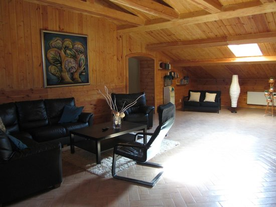 Suzdal Inn: First floor common room area with couches, TV and children's play area