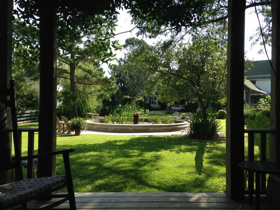 Roanoke Island Inn : The koi pond from the folly.  Great place for breakfast.