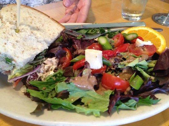 Five Loaves Cafe: Multigrain Chicken Salad Sandwich & Salad