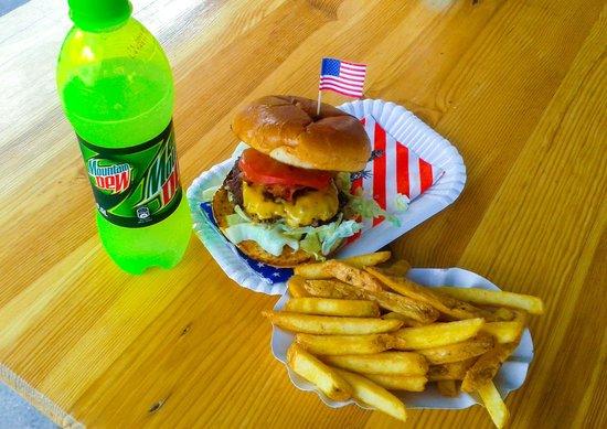 American Burger Bar: The Oklahoma Burger, Mountain Dew, French Fries