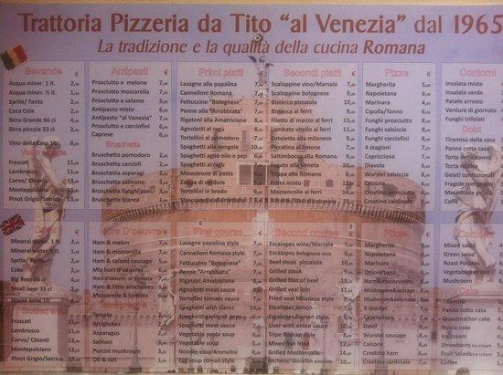 Da Tito al Venezia Restaurant: Il menù dal sapore romanesco
