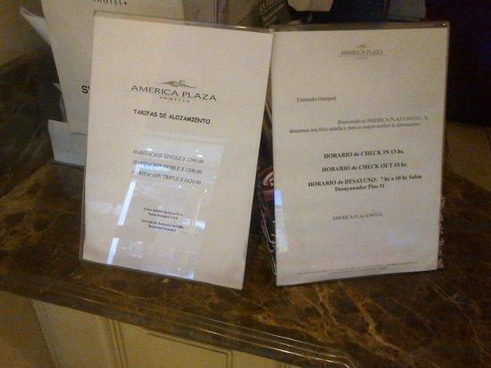America Plaza Hotel : Precios diferenciales al público extranjero publicados