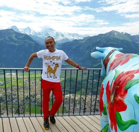 "With the ""Swiss Cow"" on Harder Kulm"