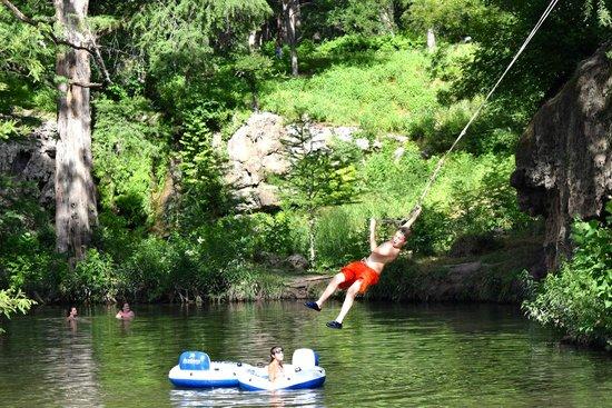 Krause Springs: Swinging
