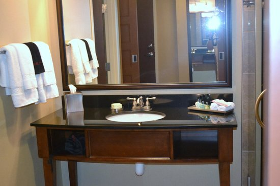 Grand Casino Hotel : Bathroom sink. Shower difficult to photo because it's all glass!