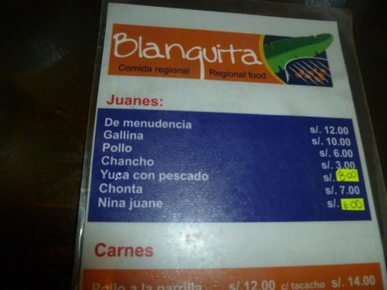 Restaurante Blanquita : La carta de Blanquita