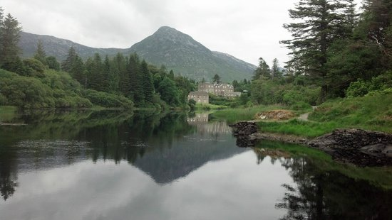 Ballynahinch Castle Hotel: view from downstrean on railway trail