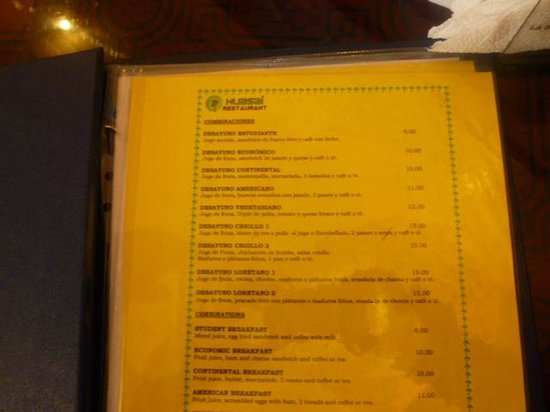 Huasai Restaurant: Carta de El Huasai