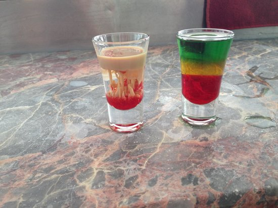 Lighthouse: Lounge & Bar: Brain Damage & Bob Marley shots