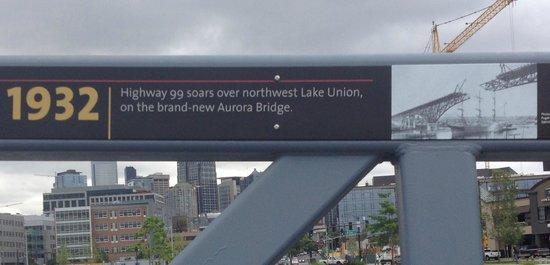 Museum of History & Industry: sign on bridge: 1932 Aurora bridge built over Lake Union